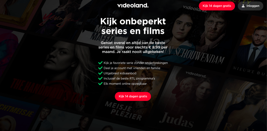 Abonnement call to action Videoland