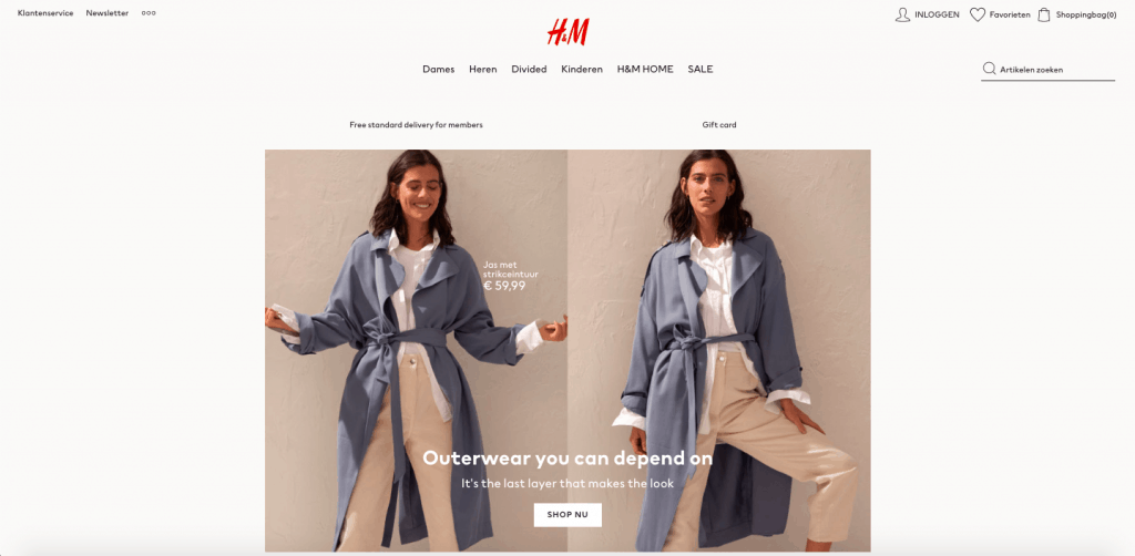 h&m shop nu call to action