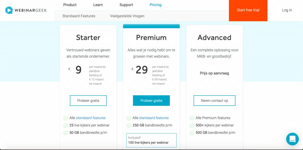 Advies abonnement WebinarGeek