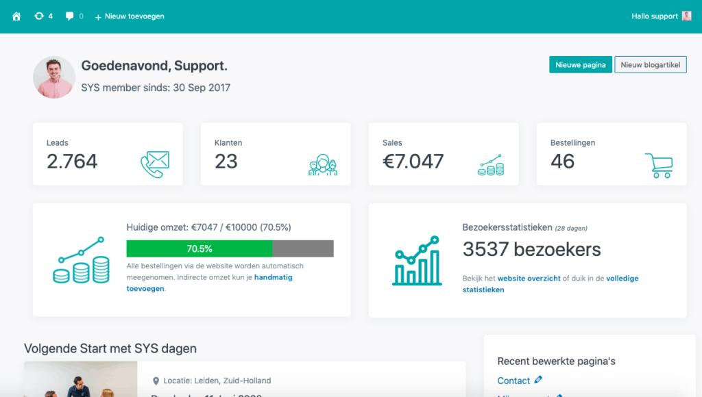Bezoekersstatistieken op het SYS dashboard