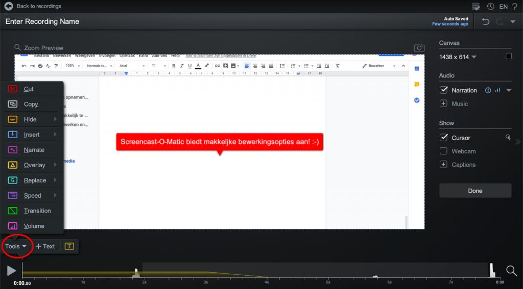 makkelijk bewerken met Screencast-o-matic