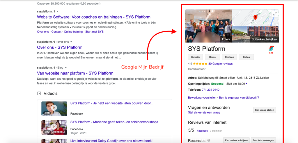 Google Mijn Bedrijf van SYS Platform