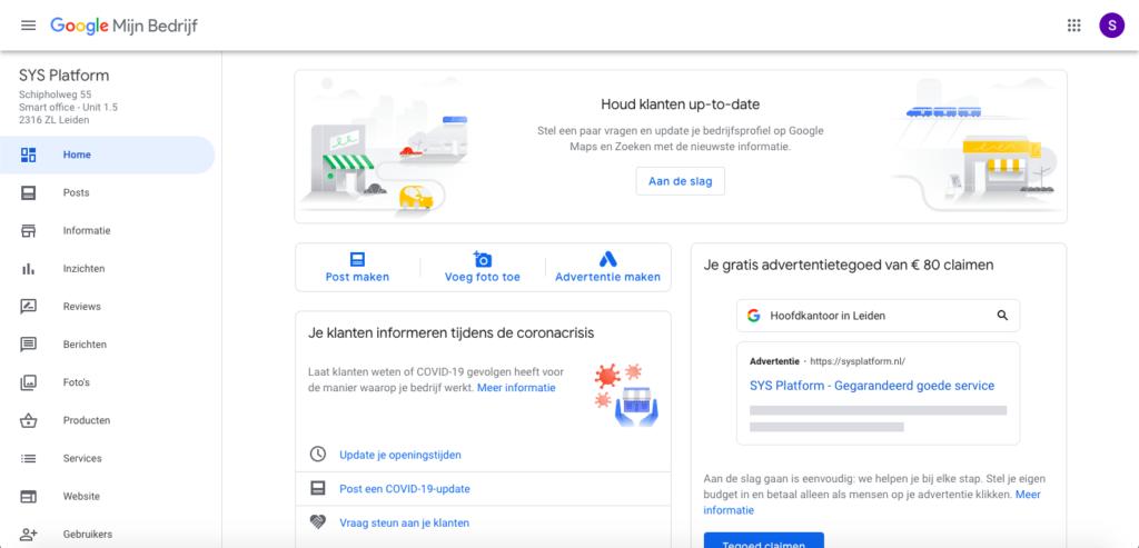 dashboard Google Mijn Bedrijf