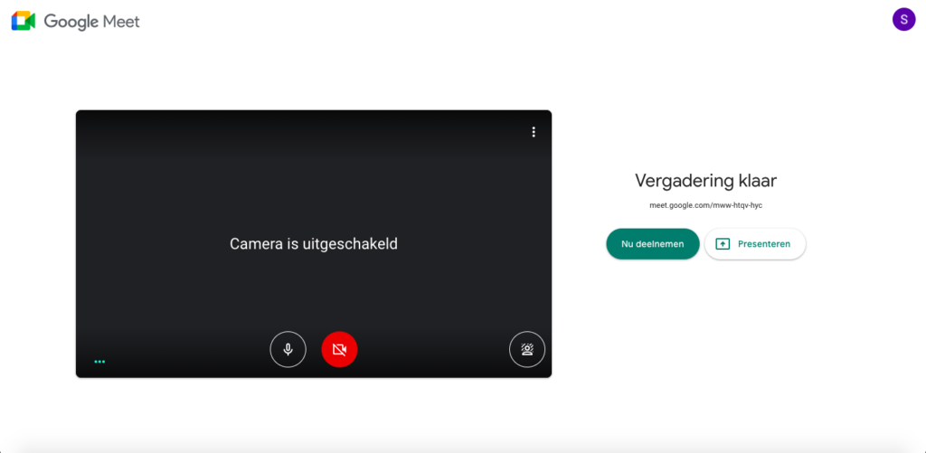 Google Meet - meteen een vergadering starten