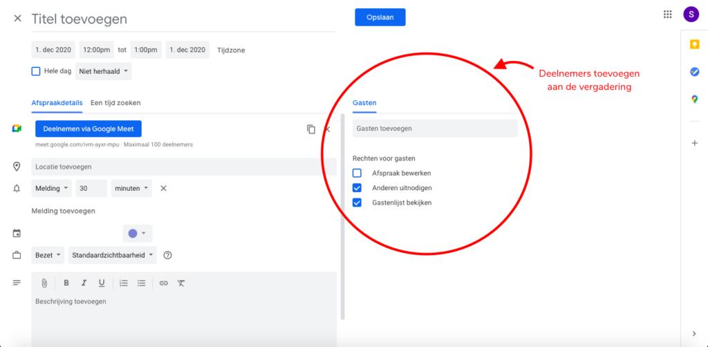 Google Meet - plannen in Google Agenda