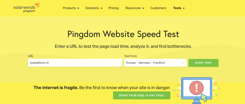 Website is te traag: Pingdom Tools
